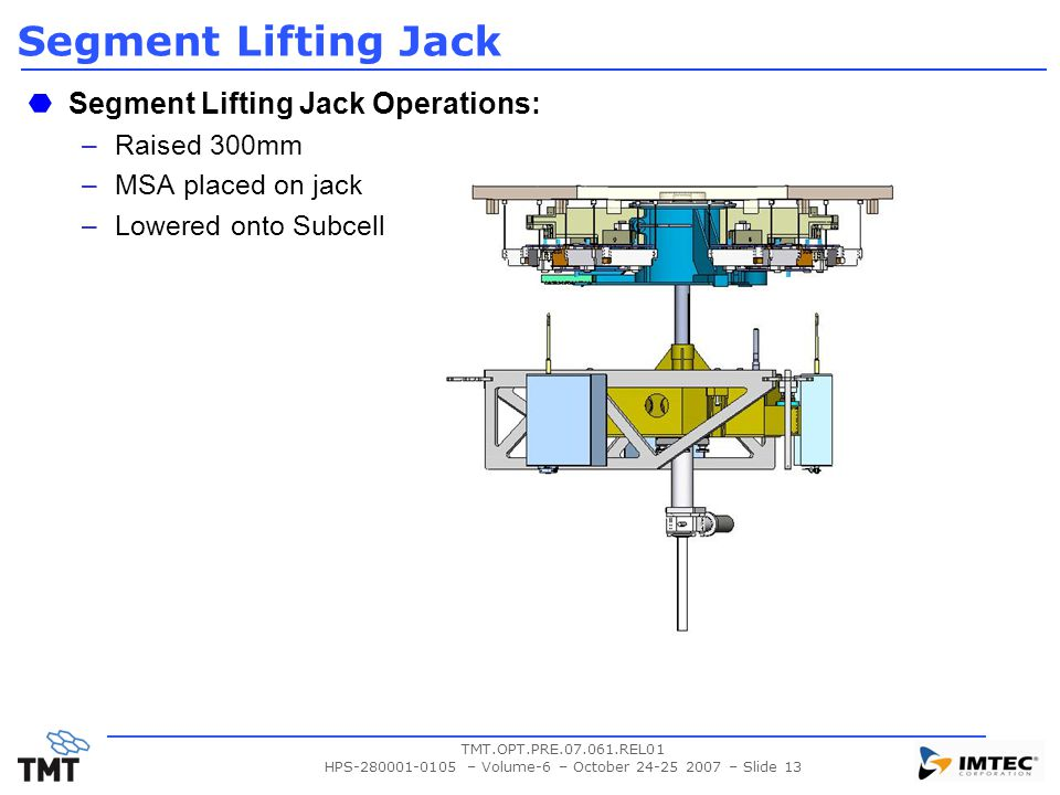 TMT.OPT.PRE.07.061.REL01 HPS-280001-0105 – Volume-6 – October 24-25 2007 – Slide 13 Segment Lifting Jack Segment Lifting Jack Operations: –Raised 300mm –MSA placed on jack –Lowered onto Subcell