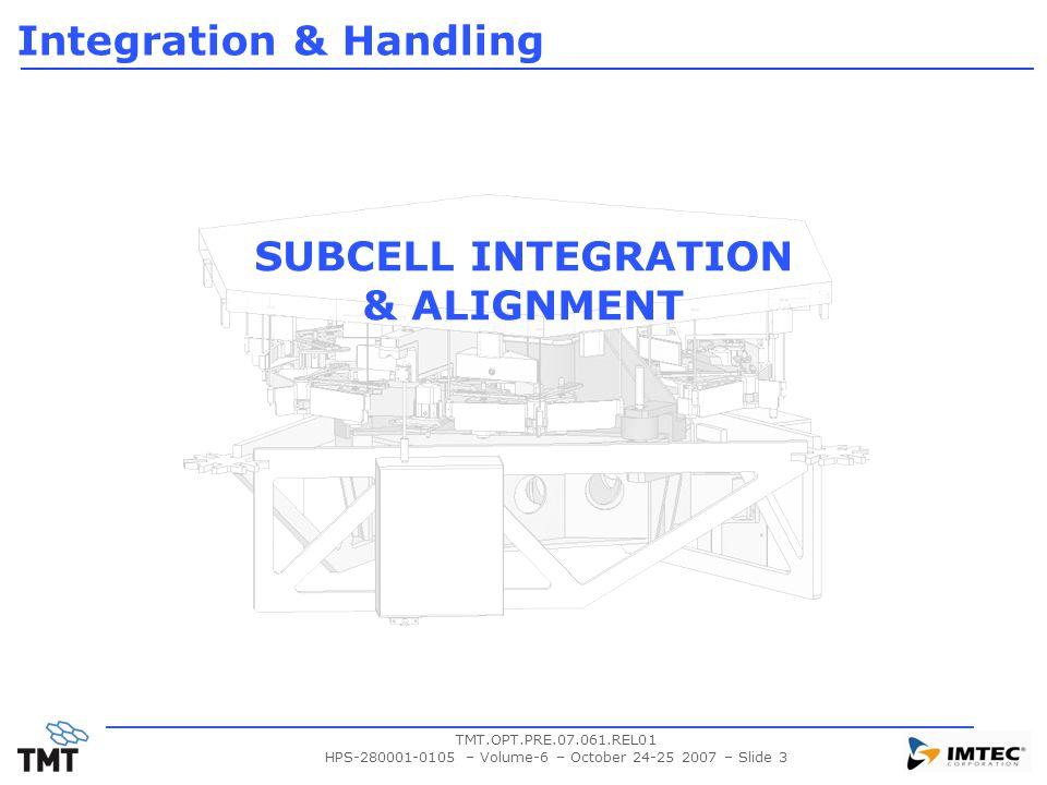 TMT.OPT.PRE.07.061.REL01 HPS-280001-0105 – Volume-6 – October 24-25 2007 – Slide 3 SUBCELL INTEGRATION & ALIGNMENT Integration & Handling