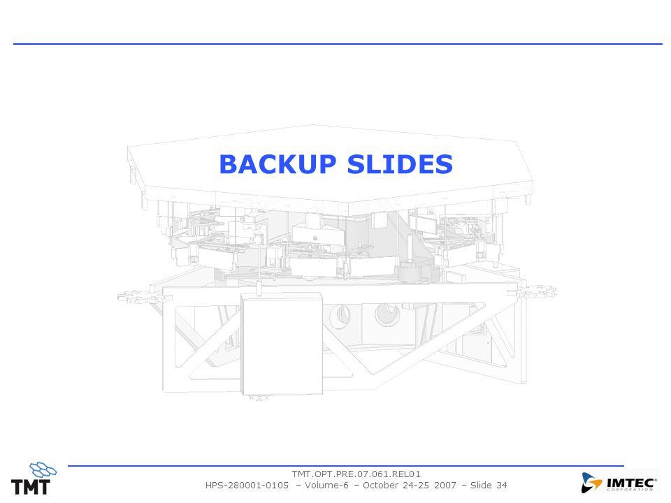 TMT.OPT.PRE.07.061.REL01 HPS-280001-0105 – Volume-6 – October 24-25 2007 – Slide 34 BACKUP SLIDES