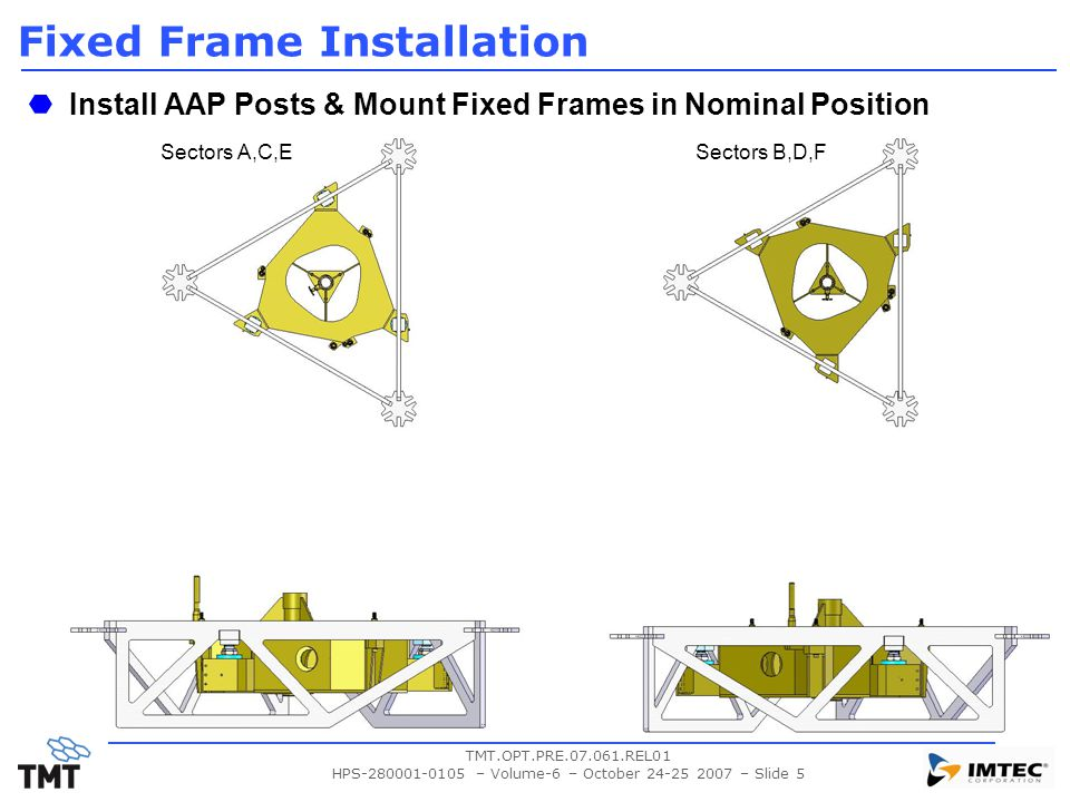 TMT.OPT.PRE.07.061.REL01 HPS-280001-0105 – Volume-6 – October 24-25 2007 – Slide 5 Fixed Frame Installation Install AAP Posts & Mount Fixed Frames in Nominal Position Sectors A,C,ESectors B,D,F