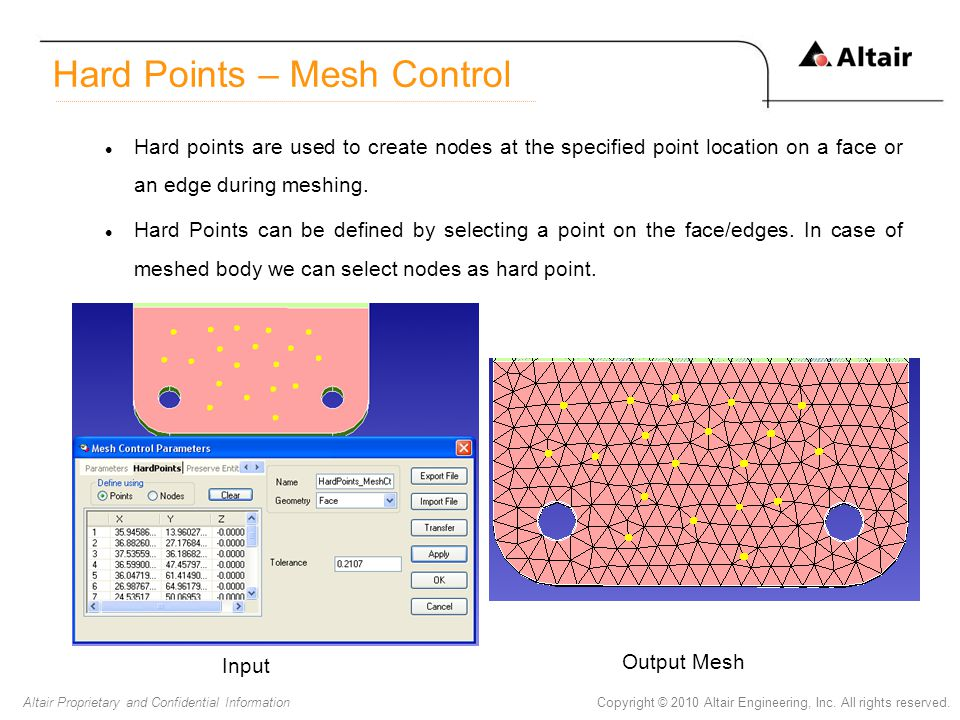 Copyright © 2010 Altair Engineering, Inc. All rights reserved.Altair Proprietary and Confidential Information Hard points are used to create nodes at