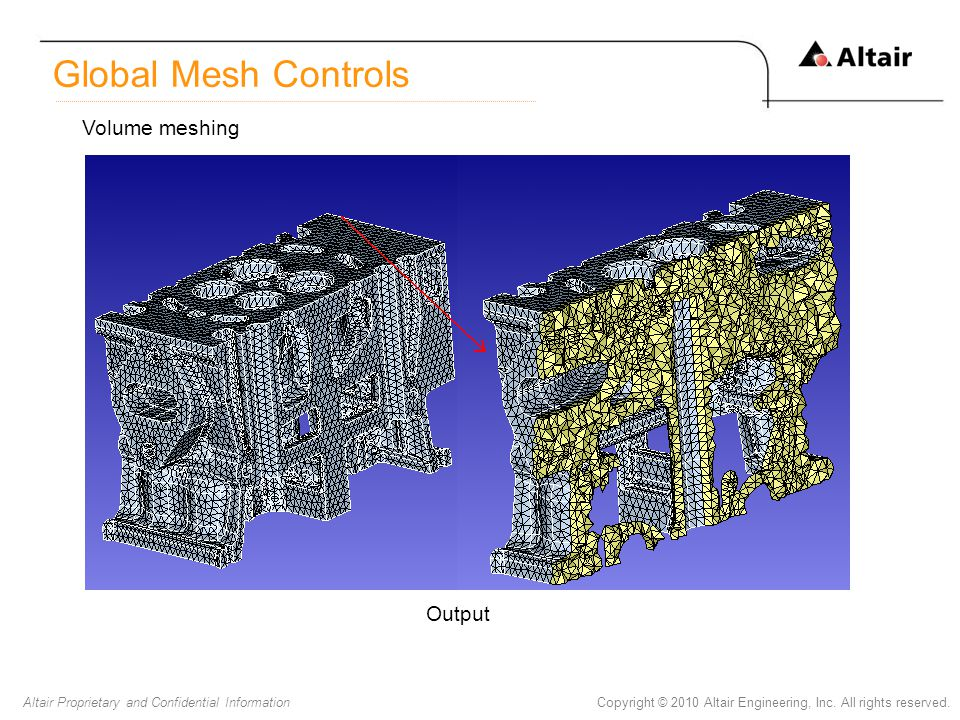Copyright © 2010 Altair Engineering, Inc. All rights reserved.Altair Proprietary and Confidential Information Global Mesh Controls Volume meshing Outp