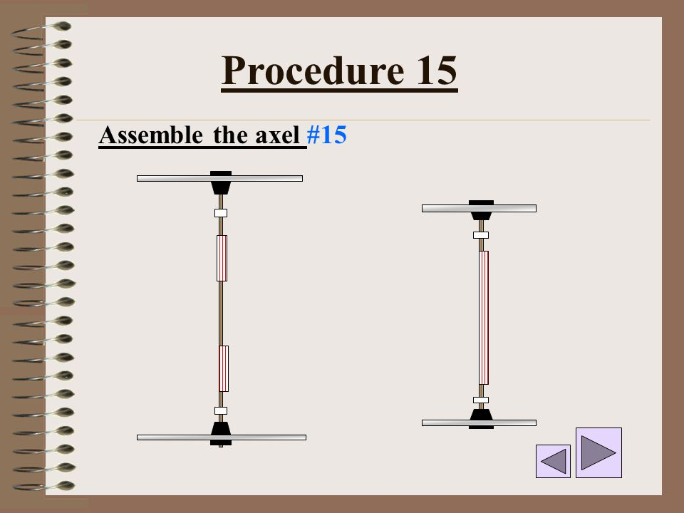 Procedure 15 Assemble the axel #15