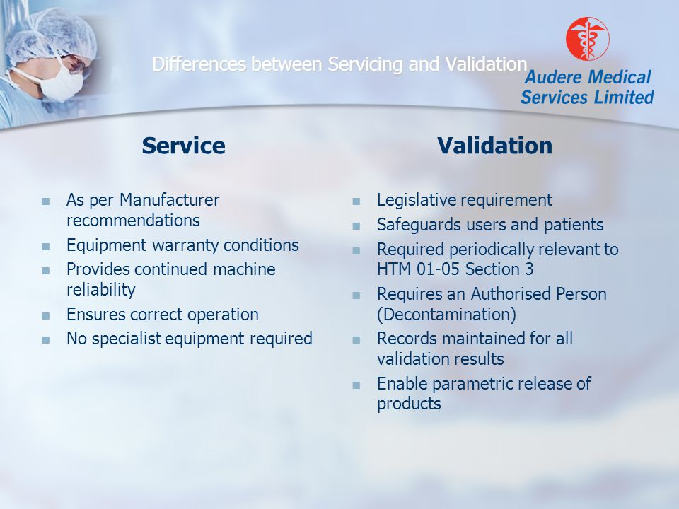 Differences between Servicing and Validation Service As per Manufacturer recommendations Equipment warranty conditions Provides continued machine reliability Ensures correct operation No specialist equipment required Validation Legislative requirement Safeguards users and patients Required periodically relevant to HTM 01-05 Section 3 Requires an Authorised Person (Decontamination) Records maintained for all validation results Enable parametric release of products