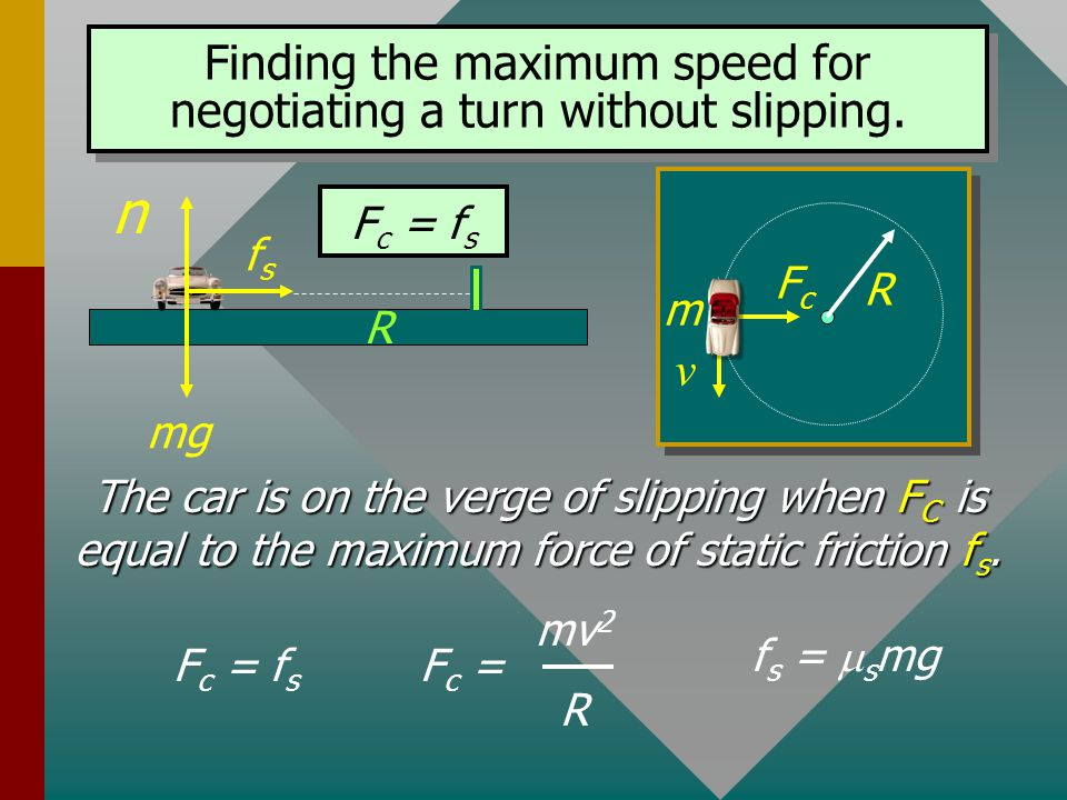 Car Negotiating a Flat Turn The centripetal force F c is that of static friction f s : The central force F C and the friction force f s are not two di