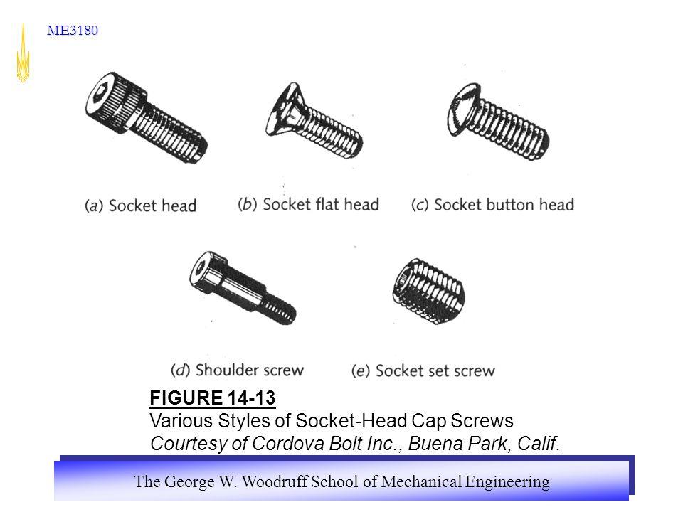ME3180 FIGURE 14-13 Various Styles of Socket-Head Cap Screws Courtesy of Cordova Bolt Inc., Buena Park, Calif.