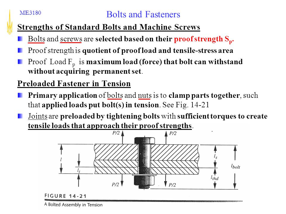 The George W. Woodruff School of Mechanical Engineering ME3180 Bolts and Fasteners Strengths of Standard Bolts and Machine Screws Bolts and screws are
