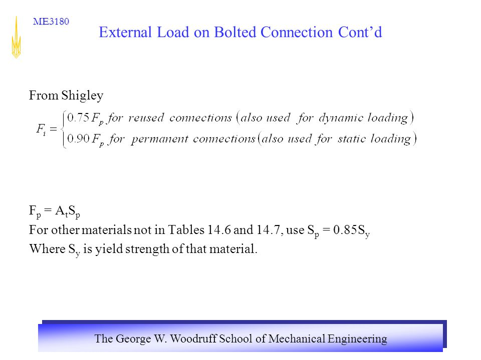 The George W. Woodruff School of Mechanical Engineering ME3180 External Load on Bolted Connection Cont'd From Shigley F p = A t S p For other material