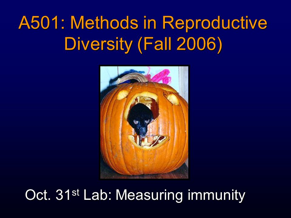 A501: Methods in Reproductive Diversity (Fall 2006) Oct. 31 st Lab: Measuring immunity