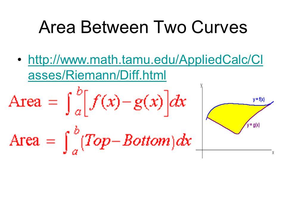 Area Between Two Curves http://www.math.tamu.edu/AppliedCalc/Cl asses/Riemann/Diff.htmlhttp://www.math.tamu.edu/AppliedCalc/Cl asses/Riemann/Diff.html
