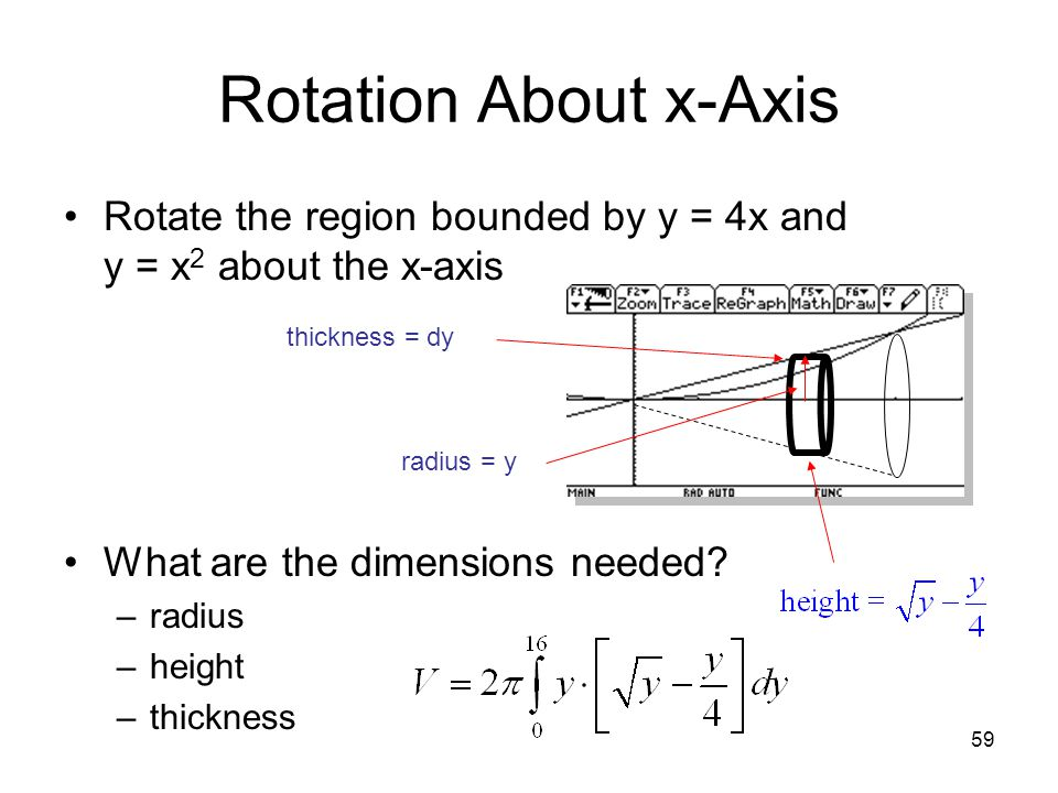 59 Rotation About x-Axis Rotate the region bounded by y = 4x and y = x 2 about the x-axis What are the dimensions needed? –radius –height –thickness r