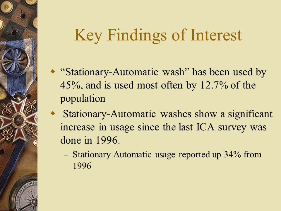 Key Findings Important Results for Customers Judging the Quality of the Wash  Thoroughly cleaned car body #1  Thoroughly cleaned windshield #2  Thoroughly cleaned windows #3  Thoroughly cleaned wheels #4  Thoroughly dried car #5