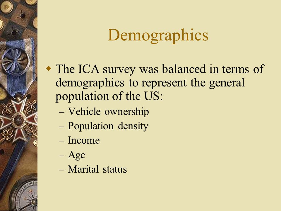 Demographics  The ICA survey was balanced in terms of demographics to represent the general population of the US: – Vehicle ownership – Population density – Income – Age – Marital status