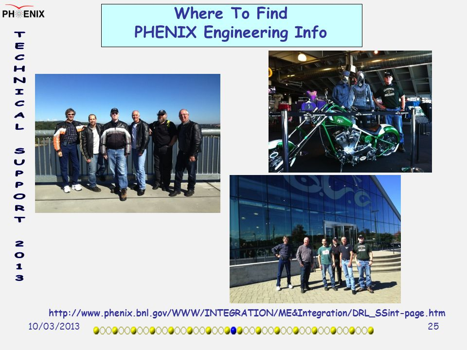 10/03/2013 25 Where To Find PHENIX Engineering Info http://www.phenix.bnl.gov/WWW/INTEGRATION/ME&Integration/DRL_SSint-page.htm