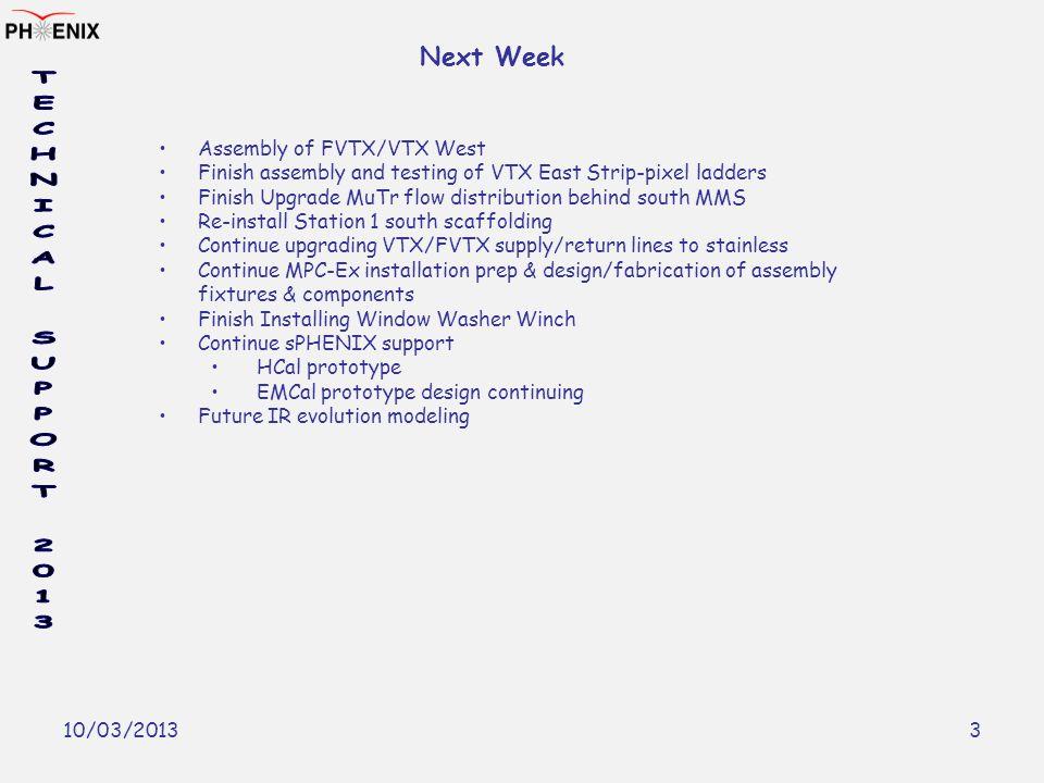 10/03/2013 4 VTX/FVTX Stave production completed Begin assembling FVTX/VTX Finish Strip-pixel ladder production and testing in progress VTX halves next week