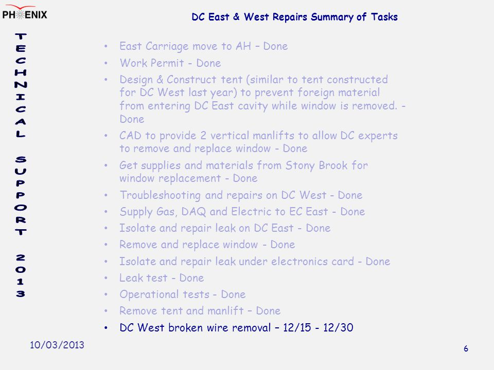 10/03/2013 DC East & West Repairs Summary of Tasks East Carriage move to AH – Done Work Permit - Done Design & Construct tent (similar to tent constructed for DC West last year) to prevent foreign material from entering DC East cavity while window is removed.