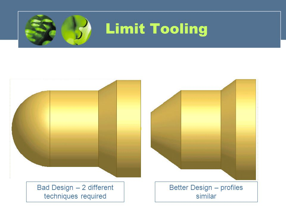 Limit Tooling Bad Design – 2 different techniques required Better Design – profiles similar