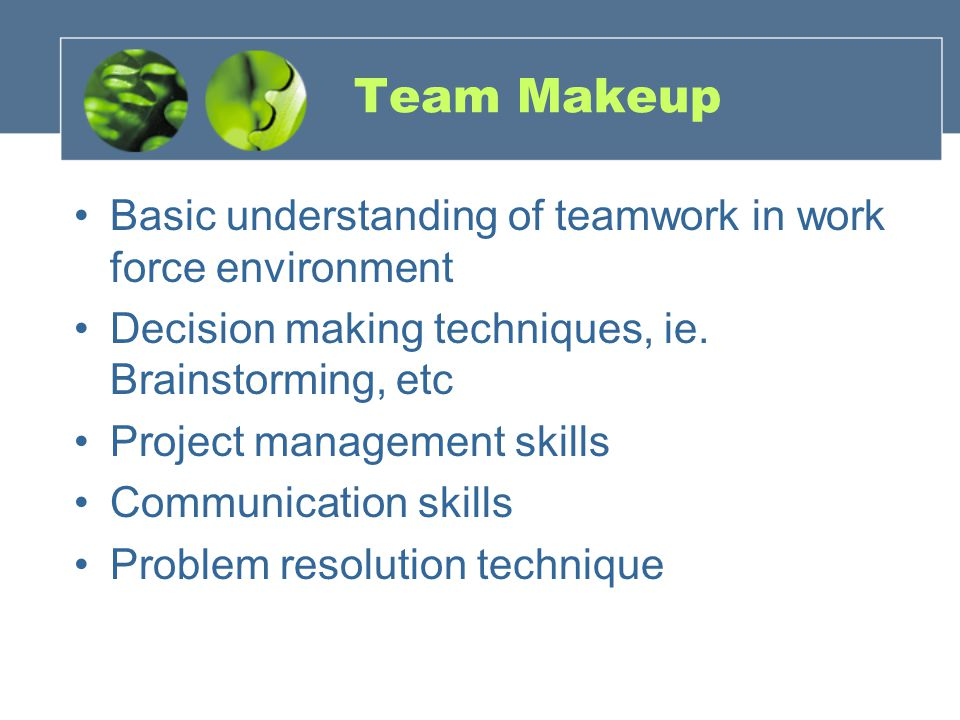 Team Makeup Basic understanding of teamwork in work force environment Decision making techniques, ie.