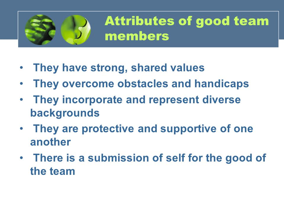 Attributes of good team members They have strong, shared values They overcome obstacles and handicaps They incorporate and represent diverse backgrounds They are protective and supportive of one another There is a submission of self for the good of the team