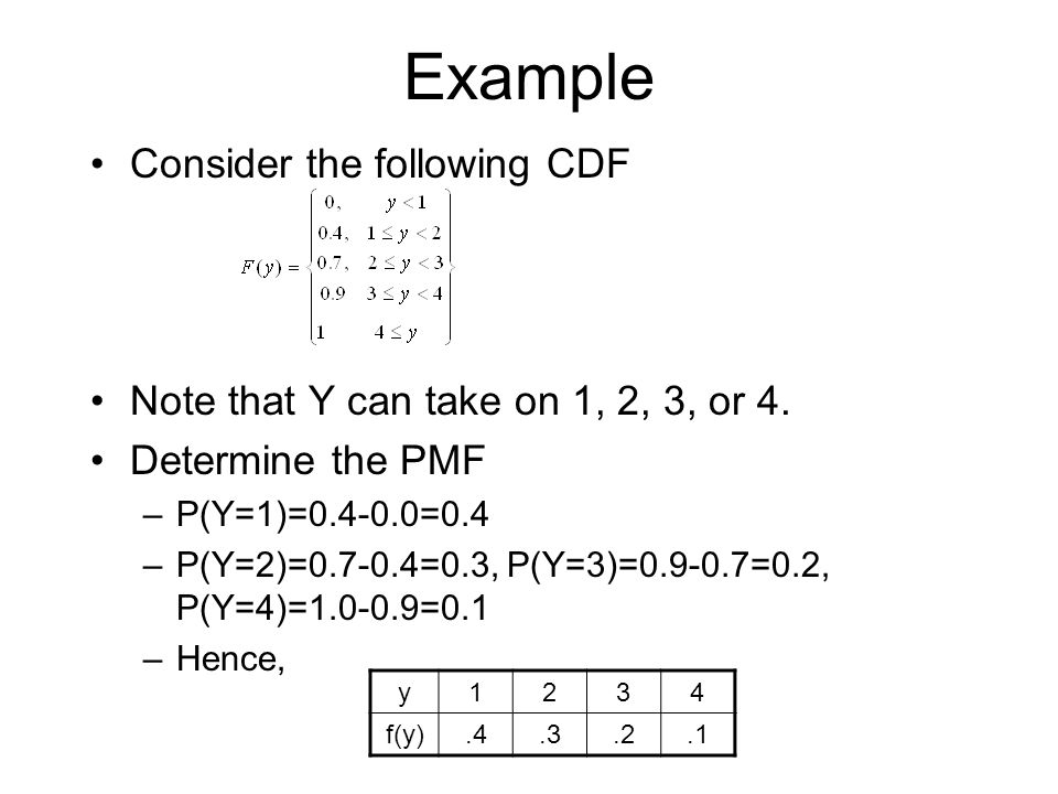 Example Consider the following CDF Note that Y can take on 1, 2, 3, or 4. Determine the PMF –P(Y=1)=0.4-0.0=0.4 –P(Y=2)=0.7-0.4=0.3, P(Y=3)=0.9-0.7=0.