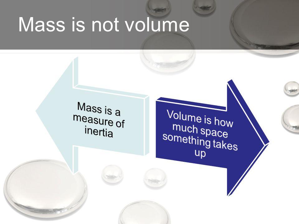 Mass is not volume