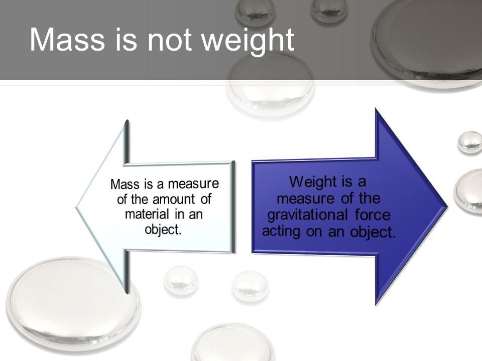Mass is not weight