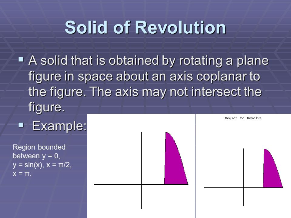 Solid of Revolution  A solid that is obtained by rotating a plane figure in space about an axis coplanar to the figure. The axis may not intersect th