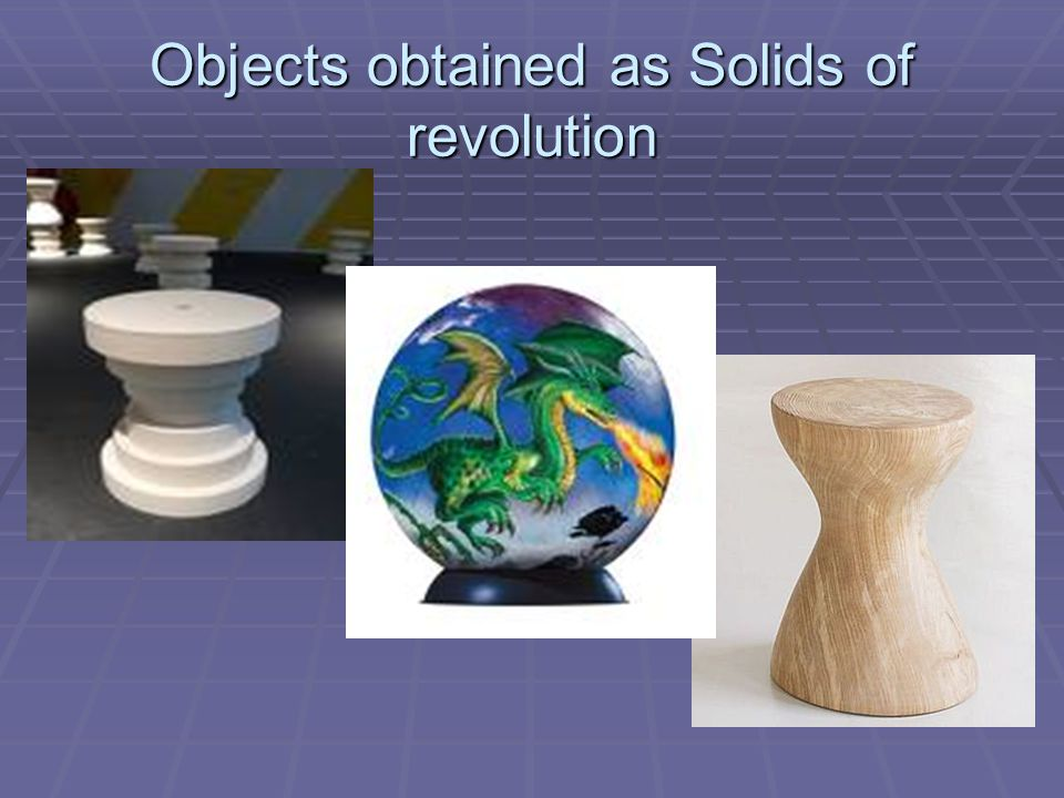 Objects obtained as Solids of revolution