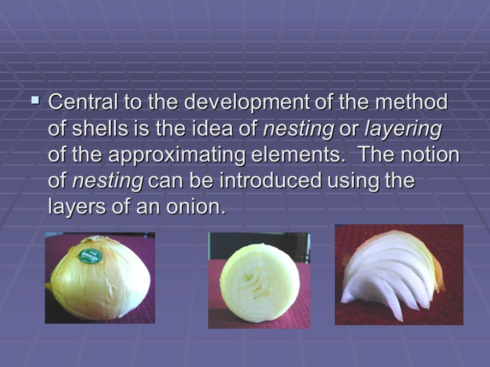  Central to the development of the method of shells is the idea of nesting or layering of the approximating elements.