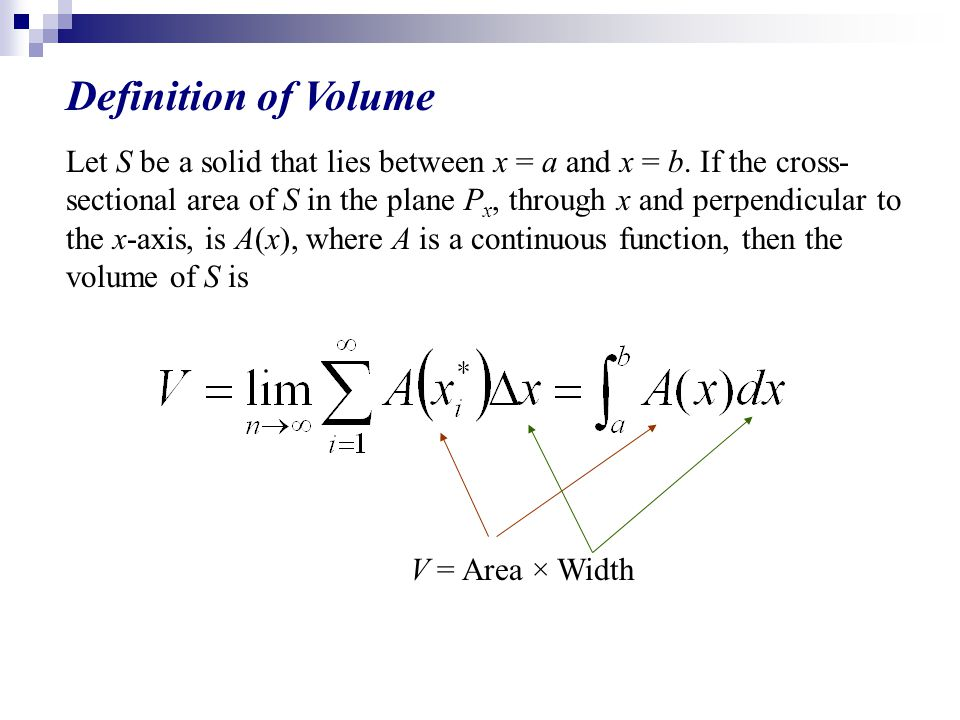 Definition of Volume Let S be a solid that lies between x = a and x = b.