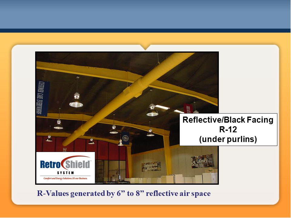 Reflective/Black Facing R-12 (under purlins) R-Values generated by 6 to 8 reflective air space