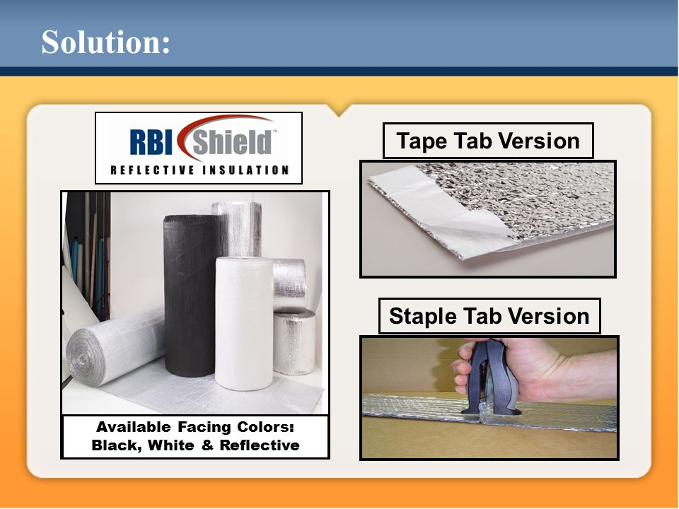 Staple Tab Version Tape Tab Version Available Facing Colors: Black, White & Reflective Solution:
