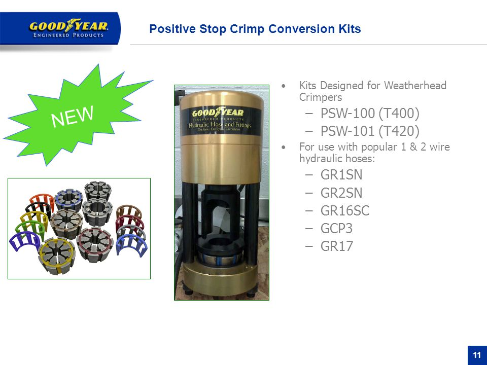 11 Positive Stop Crimp Conversion Kits Kits Designed for Weatherhead Crimpers –PSW-100 (T400) –PSW-101 (T420) For use with popular 1 & 2 wire hydraulic hoses: –GR1SN –GR2SN –GR16SC –GCP3 –GR17 NEW
