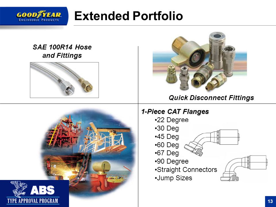 13 SAE 100R14 Hose and Fittings Quick Disconnect Fittings Extended Portfolio 1-Piece CAT Flanges 22 Degree 30 Degree 45 Degree 60 Degree 67 Degree 90 Degree Straight Connectors Jump Sizes