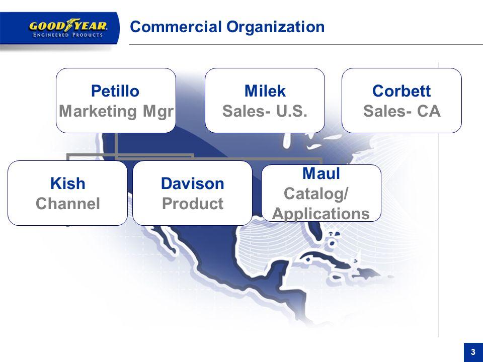 3 Commercial Organization Petillo Marketing Mgr Kish Channel Corbett Sales- CA Milek Sales- U.S. Davison Product Maul Catalog/ Applications