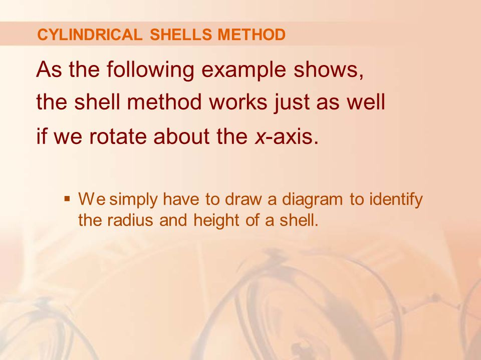 As the following example shows, the shell method works just as well if we rotate about the x-axis.