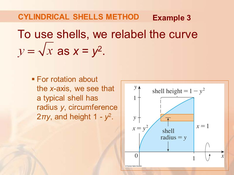 To use shells, we relabel the curve as x = y 2.  For rotation about the x-axis, we see that a typical shell has radius y, circumference 2πy, and heig