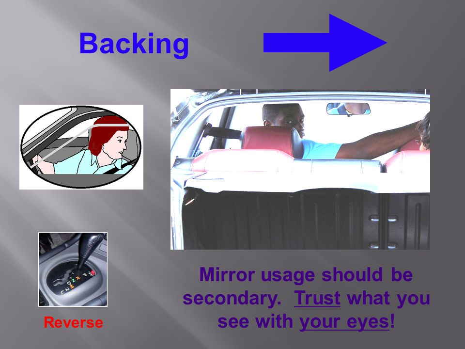 Backing Reverse Mirror usage should be secondary. Trust what you see with your eyes!