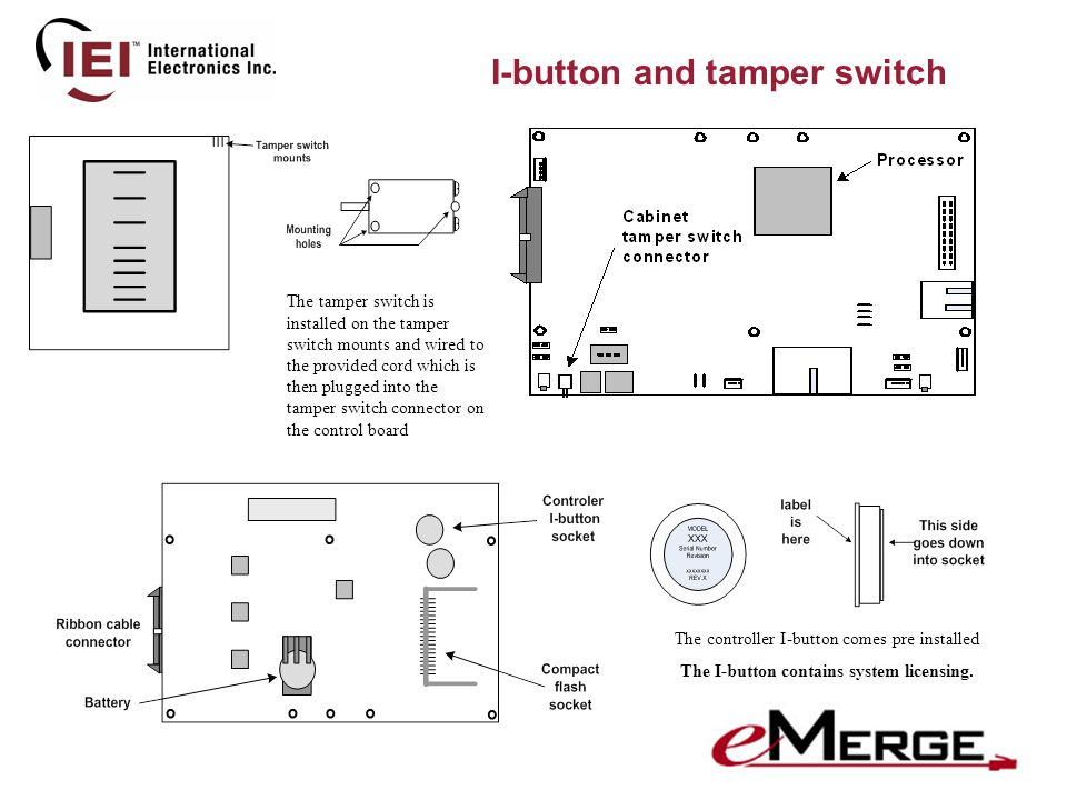 I-button and tamper switch The tamper switch is installed on the tamper switch mounts and wired to the provided cord which is then plugged into the tamper switch connector on the control board The controller I-button comes pre installed The I-button contains system licensing.