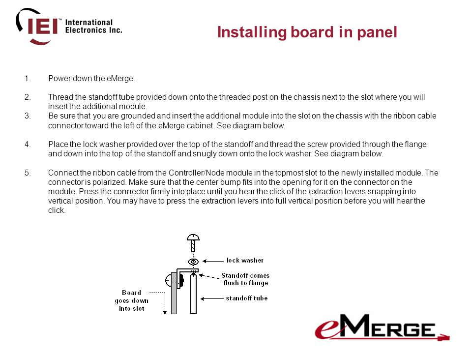 Installing board in panel 1.Power down the eMerge.