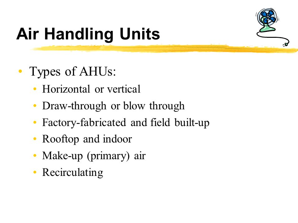 Air Handling Units Types of AHUs: Horizontal or vertical Draw-through or blow through Factory-fabricated and field built-up Rooftop and indoor Make-up