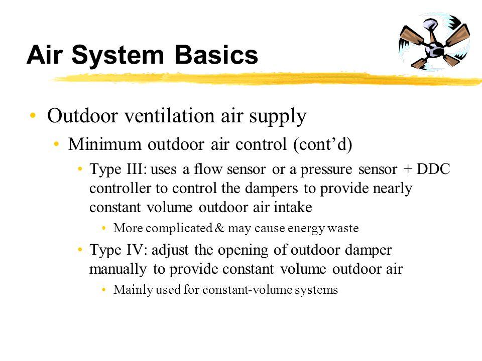 Air System Basics Outdoor ventilation air supply Minimum outdoor air control (cont'd) Type III: uses a flow sensor or a pressure sensor + DDC controll