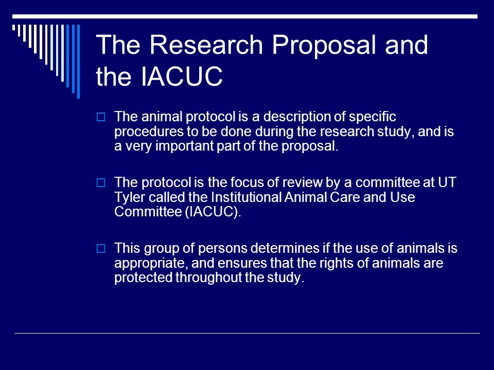 The IACUC  The IACUC reviews all protocols that require the use of animals, and approval of the protocol by the IACUC is required before any animal work can begin.