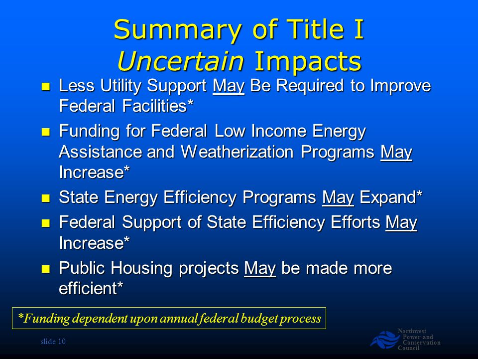Northwest Power and Conservation Council slide 10 Summary of Title I Uncertain Impacts Less Utility Support May Be Required to Improve Federal Facilities* Less Utility Support May Be Required to Improve Federal Facilities* Funding for Federal Low Income Energy Assistance and Weatherization Programs May Increase* Funding for Federal Low Income Energy Assistance and Weatherization Programs May Increase* State Energy Efficiency Programs May Expand* State Energy Efficiency Programs May Expand* Federal Support of State Efficiency Efforts May Increase* Federal Support of State Efficiency Efforts May Increase* Public Housing projects May be made more efficient* Public Housing projects May be made more efficient* *Funding dependent upon annual federal budget process