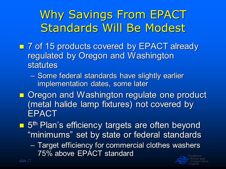 Northwest Power and Conservation Council slide 17 Why Savings From EPACT Standards Will Be Modest 7 of 15 products covered by EPACT already regulated by Oregon and Washington statutes 7 of 15 products covered by EPACT already regulated by Oregon and Washington statutes –Some federal standards have slightly earlier implementation dates, some later Oregon and Washington regulate one product (metal halide lamp fixtures) not covered by EPACT Oregon and Washington regulate one product (metal halide lamp fixtures) not covered by EPACT 5 th Plan's efficiency targets are often beyond minimums set by state or federal standards 5 th Plan's efficiency targets are often beyond minimums set by state or federal standards –Target efficiency for commercial clothes washers 75% above EPACT standard