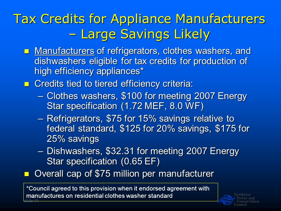 Northwest Power and Conservation Council slide 35 Tax Credits for Appliance Manufacturers – Large Savings Likely Manufacturers of refrigerators, clothes washers, and dishwashers eligible for tax credits for production of high efficiency appliances* Manufacturers of refrigerators, clothes washers, and dishwashers eligible for tax credits for production of high efficiency appliances* Credits tied to tiered efficiency criteria: Credits tied to tiered efficiency criteria: –Clothes washers, $100 for meeting 2007 Energy Star specification (1.72 MEF, 8.0 WF) –Refrigerators, $75 for 15% savings relative to federal standard, $125 for 20% savings, $175 for 25% savings –Dishwashers, $32.31 for meeting 2007 Energy Star specification (0.65 EF) Overall cap of $75 million per manufacturer Overall cap of $75 million per manufacturer *Council agreed to this provision when it endorsed agreement with manufactures on residential clothes washer standard