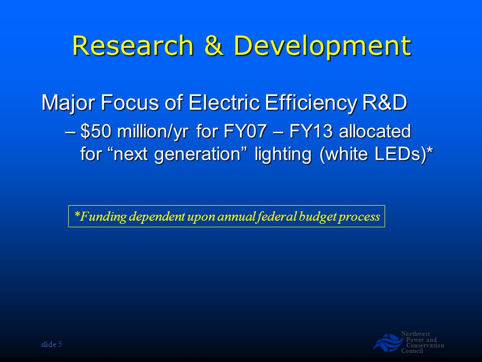 Northwest Power and Conservation Council slide 26 Research and Development Authorizes funds for energy efficiency research, development and demonstration Authorizes funds for energy efficiency research, development and demonstration –$783 million for FY07 –$865 million for FY08 –$952 million for FY09 $50 million/yr for FY07 – FY13 allocated for next generation lighting (i.e., white LEDs) $50 million/yr for FY07 – FY13 allocated for next generation lighting (i.e., white LEDs) *Funding dependent upon annual federal budget process