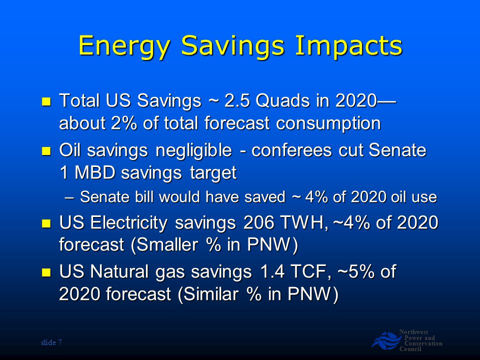 Northwest Power and Conservation Council slide 7 Energy Savings Impacts Total US Savings ~ 2.5 Quads in 2020— about 2% of total forecast consumption Total US Savings ~ 2.5 Quads in 2020— about 2% of total forecast consumption Oil savings negligible - conferees cut Senate 1 MBD savings target Oil savings negligible - conferees cut Senate 1 MBD savings target –Senate bill would have saved ~ 4% of 2020 oil use US Electricity savings 206 TWH, ~4% of 2020 forecast (Smaller % in PNW) US Electricity savings 206 TWH, ~4% of 2020 forecast (Smaller % in PNW) US Natural gas savings 1.4 TCF, ~5% of 2020 forecast (Similar % in PNW) US Natural gas savings 1.4 TCF, ~5% of 2020 forecast (Similar % in PNW)