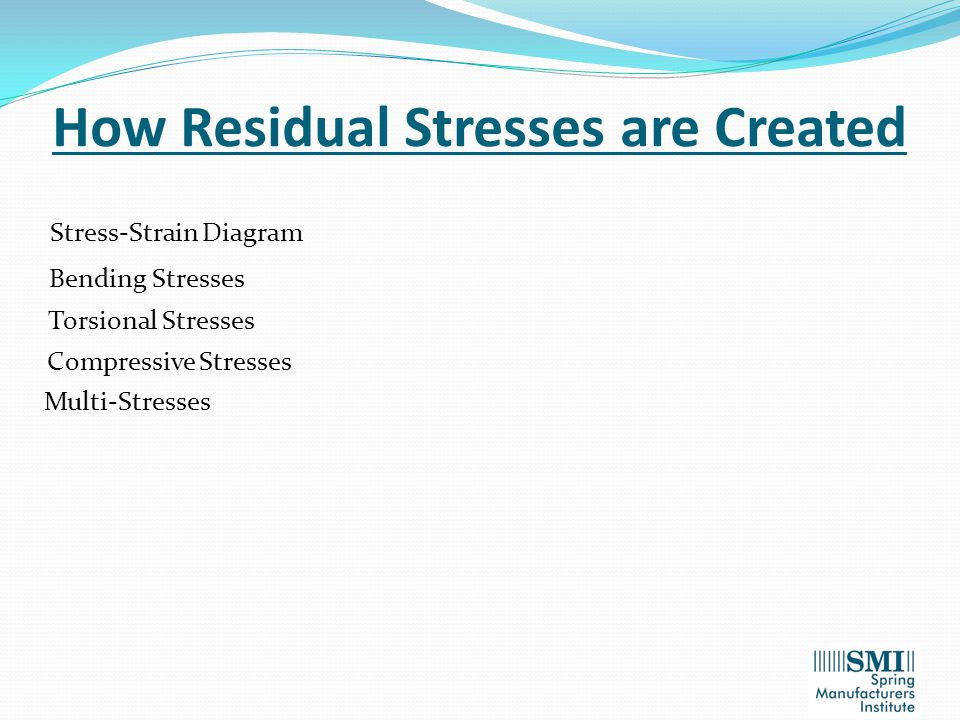How Residual Stresses are Created Stress-Strain Diagram Bending Stresses Torsional Stresses Compressive Stresses Multi-Stresses