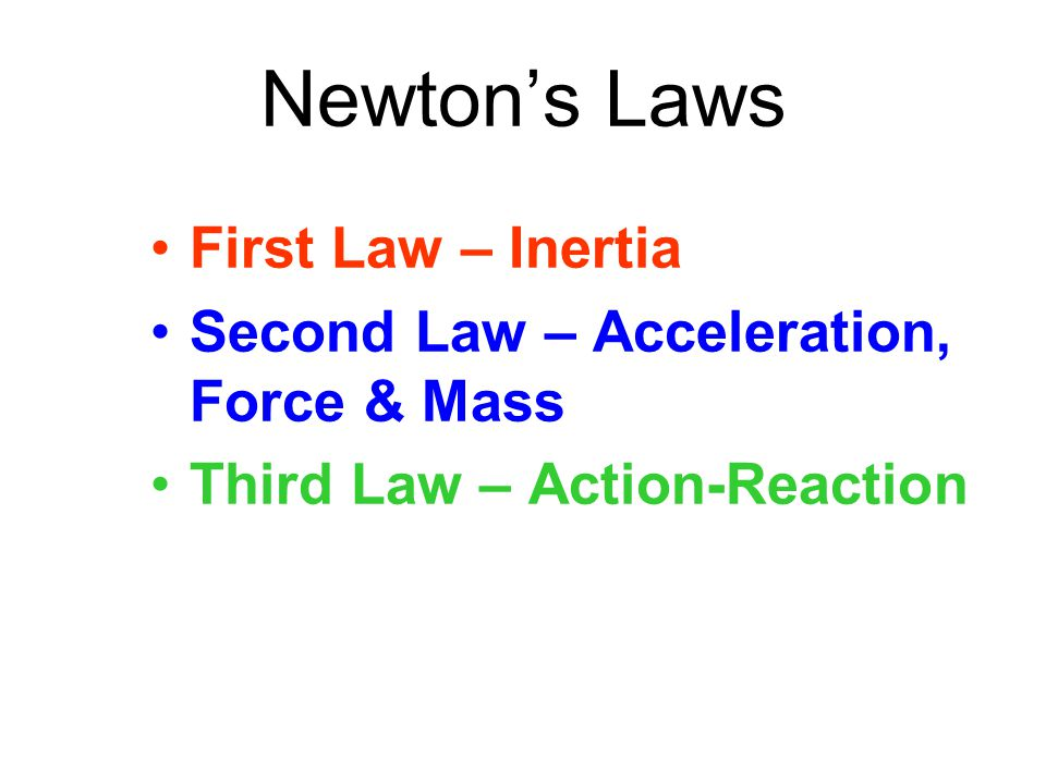 Newton's Laws First Law – Inertia Second Law – Acceleration, Force & Mass Third Law – Action-Reaction
